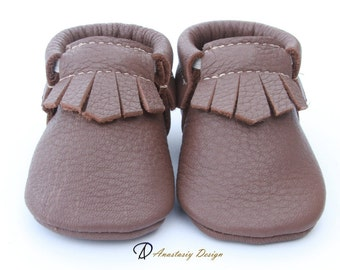Baby Moccasins, Genuine Leather Baby Moccs, Brown Fringe Leather Baby Moccasins, Baby Boy Moccasins Toddler Moccasins Baby boy shoes