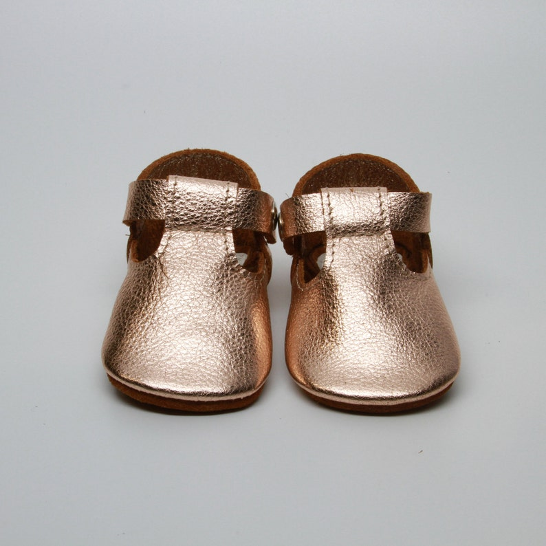 34f8cc08062e2 Rose Gold Metallic Leather Baby Moccasins Baby Girl Moccasins Suede Bottom  Baby Girl Shoes Princess Shoes Toast Suede