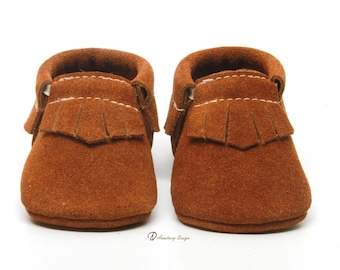 Baby Moccasins Leather Baby Moccasins, Toast Suede Fringe Baby Moccasins, Baby Boy Moccasins, Toddler Moccasins, Baby boy shoes