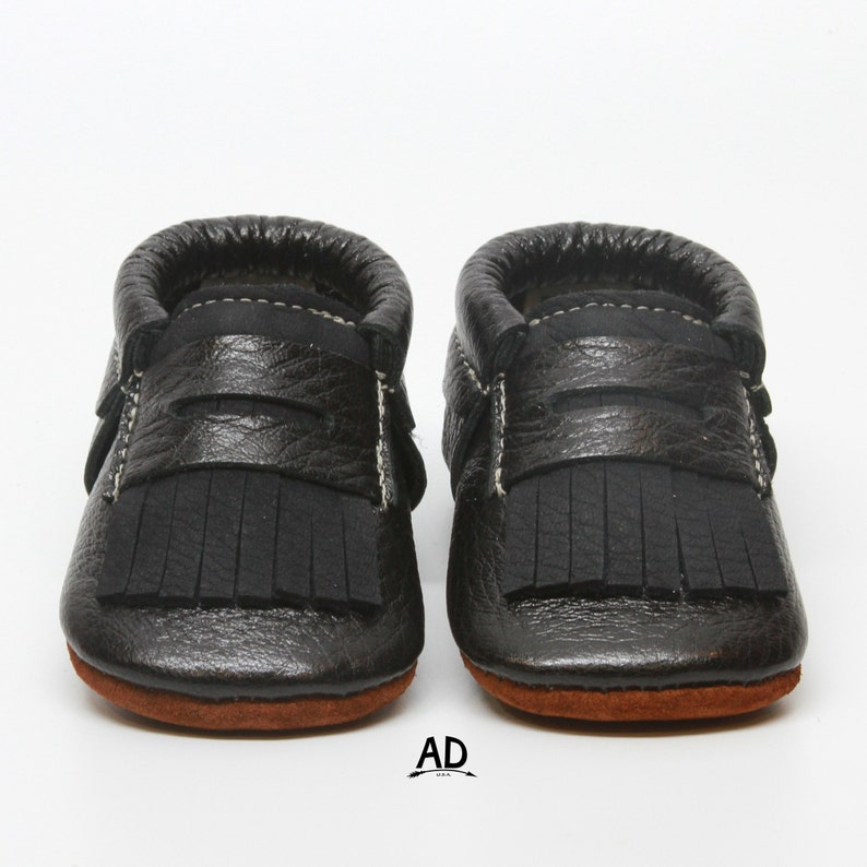 9abdfb4a25c9f Baby Moccasins Black Fringe Leather Baby Shoes Leather Baby Moccasins Baby  Boy Moccasins Suede Bottom Baby Girl Shoes Shoes Boys Moccs