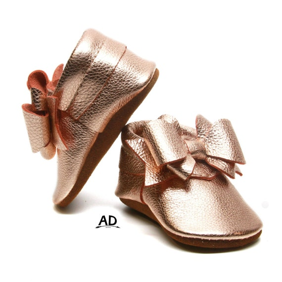 82cf85cb5c86f Perfect Bow Rose Gold Leather Baby Moccasins Baby Girl Moccasins Suede  Bottom Baby Girl Shoes Princess Shoes