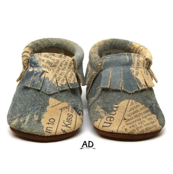 9ffa40d1ecde7 Baby Moccasins Genuine Leather Baby Moccs Denim Fringe | Etsy