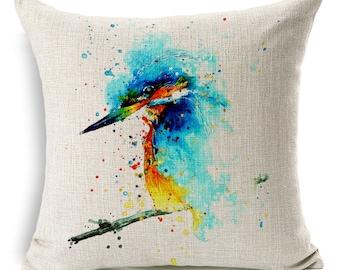 Vibrant Watercolor Bird Print Decorative Pillow Cover - Kingfisher 2
