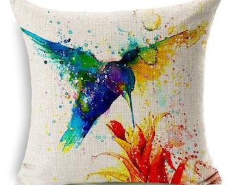 Vibrant Watercolor Bird Print Decorative Pillow Cover - Hummingbird
