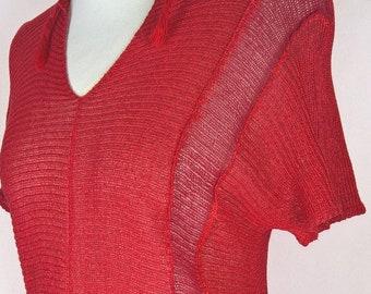 59f9430059 Czerwona tunika z dzianiny lnianej