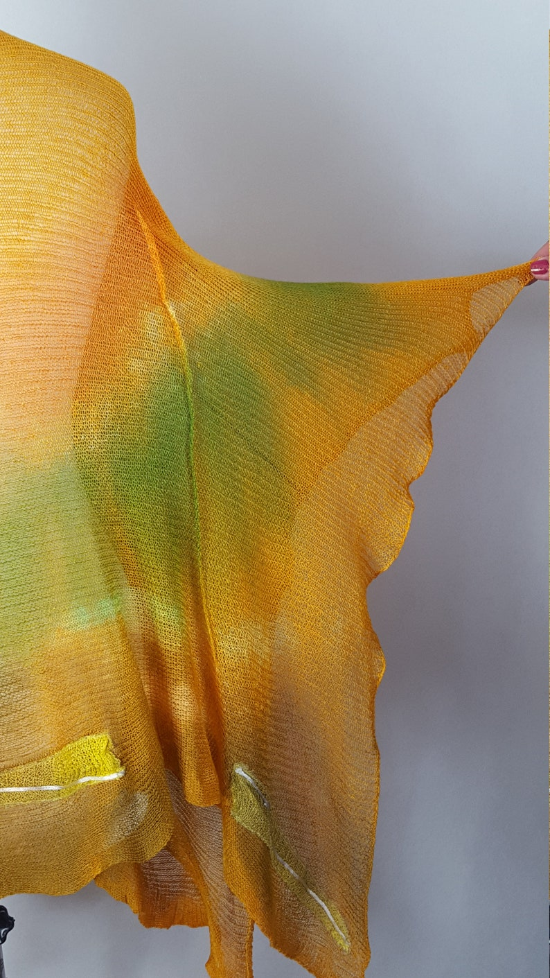 Painted bedspread. Poncho linen hand-painted linen poncho knitted Linen cap