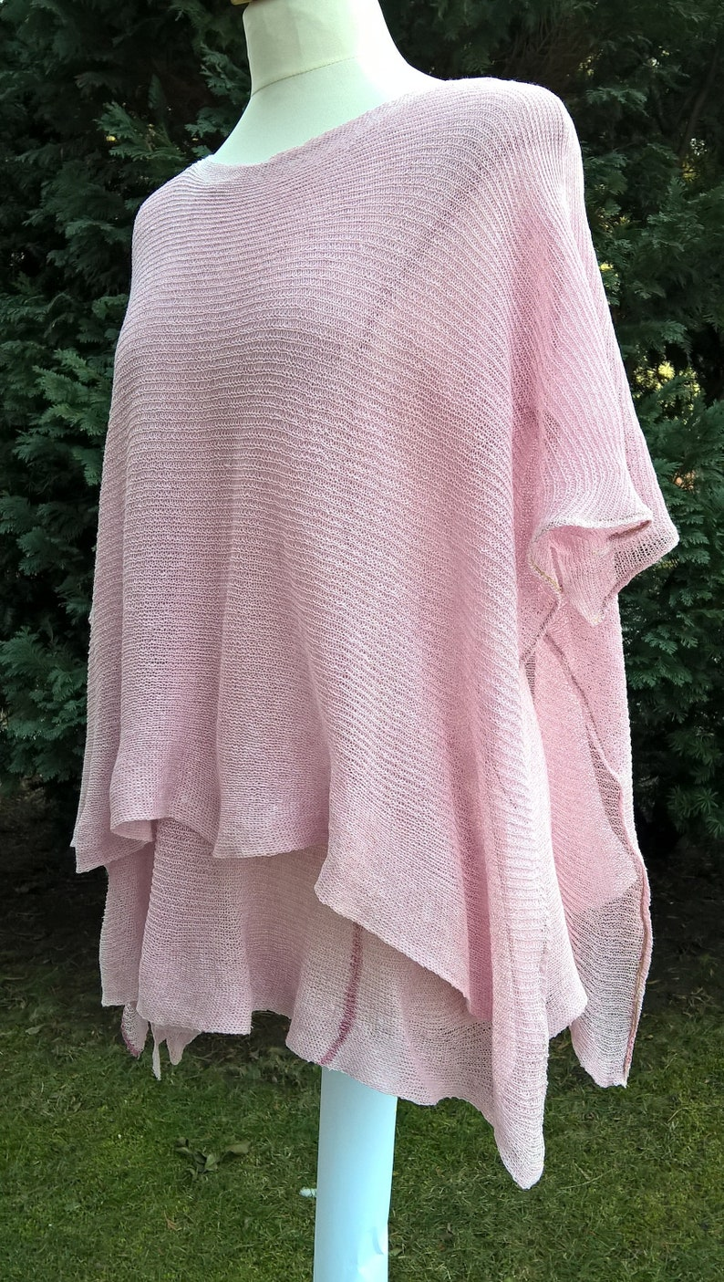 Two-piece powder-coloured pink, linseed set, linen poncho, pink tunic and  poncho, knitted poncho and tunic