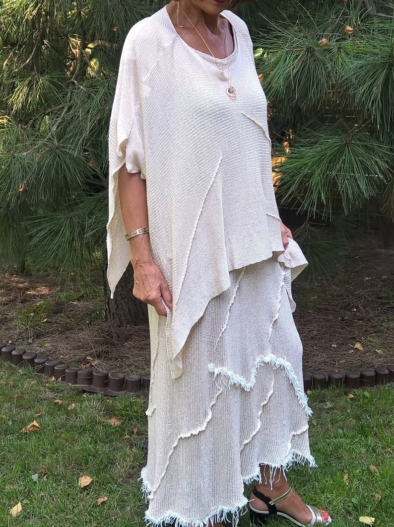 linen dress knitted linen dress and poncho Two-piece Ekri set Long dress and color poncho Ekri Knitted linen Komlet