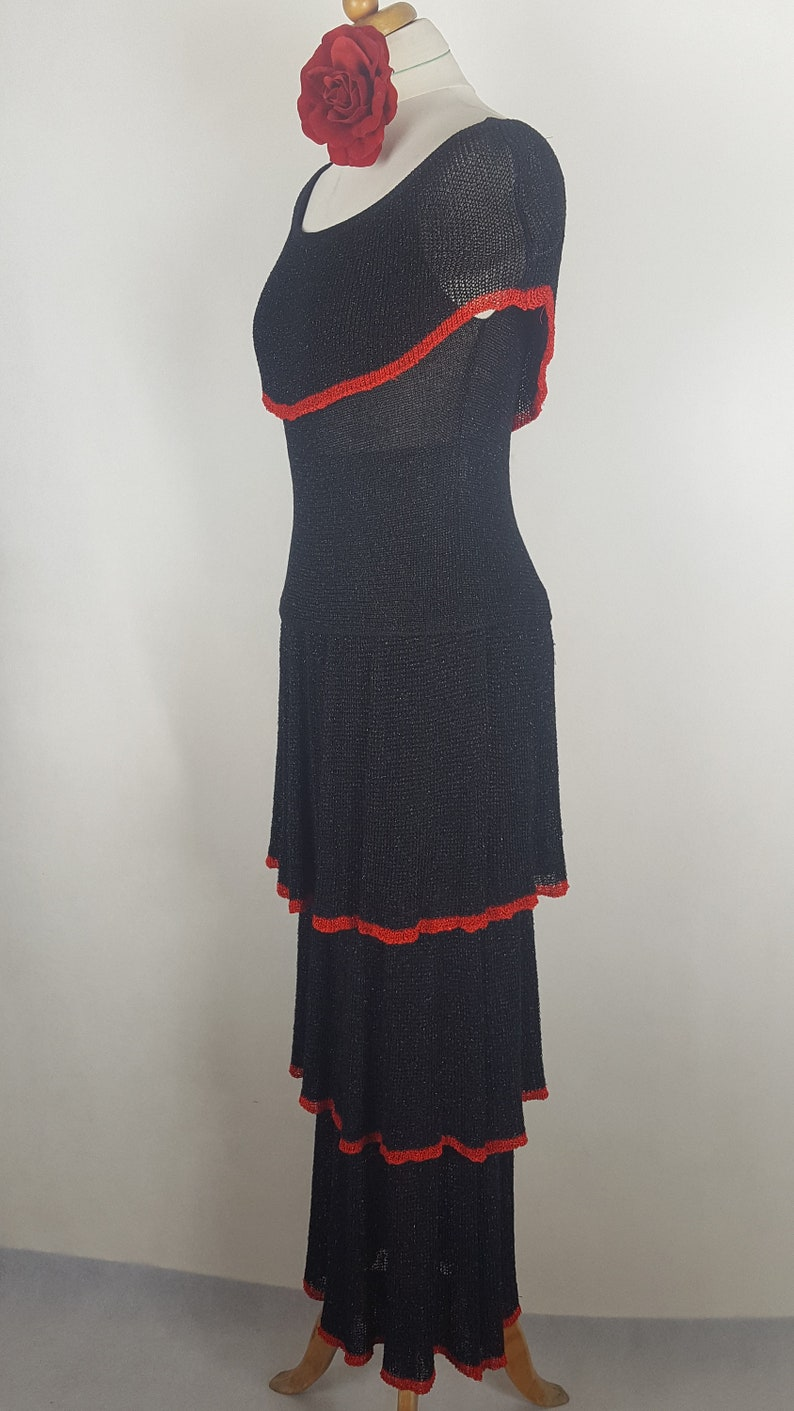 Two-Piece set with skirt Dress in Spanish style Black set with blouse and long skirt