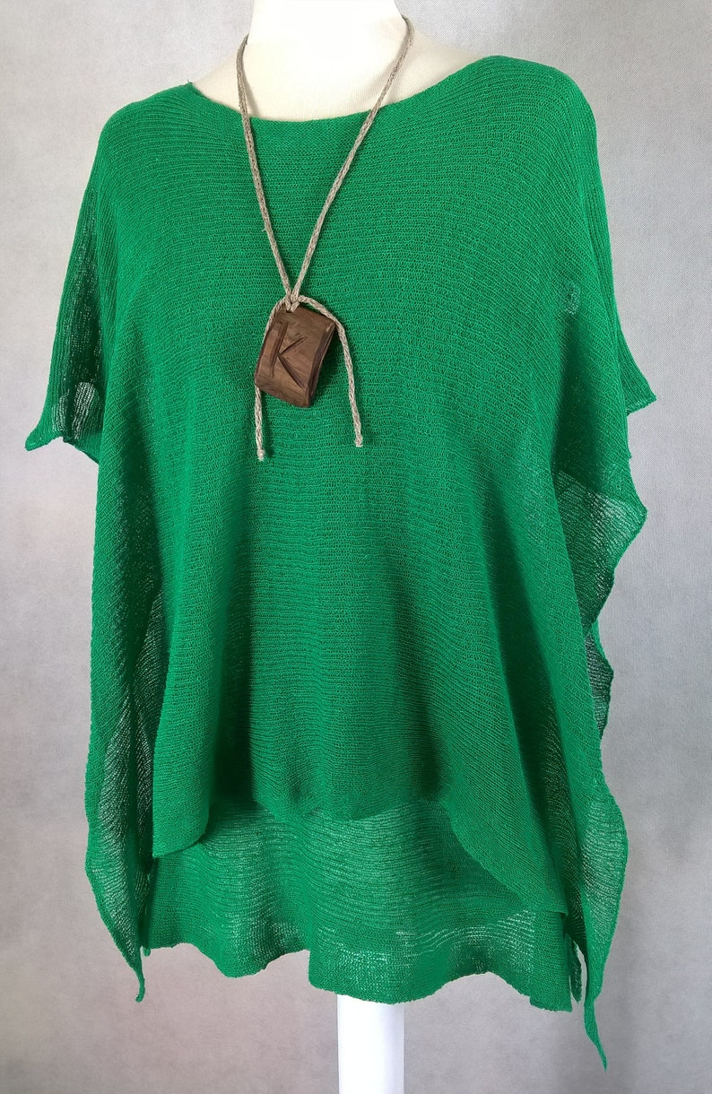 Two-piece knitted linen set  Poncho and linen tunic  Linen Green Bliżniak   Green Poncho, Green tunic