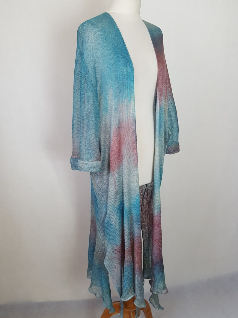 painted long cardigan without fastener. Long linen coat linen cardigan in linen fabric hand-painted