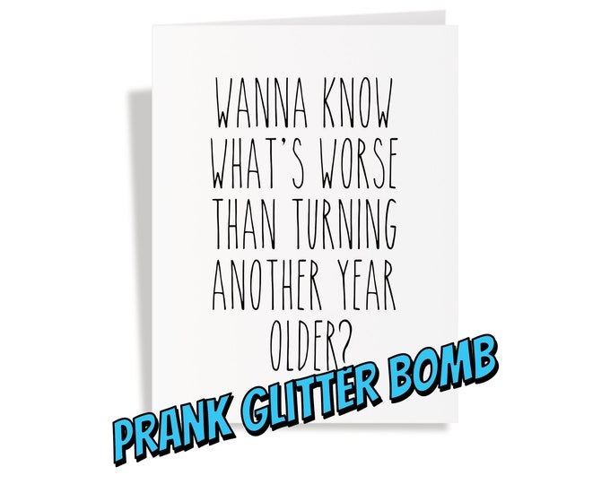 Featured listing image: Birthday Glitter Bomb Card - Another Year Older