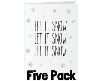 Christmas Glitter Bomb Card - Let it Snow - Five Pack