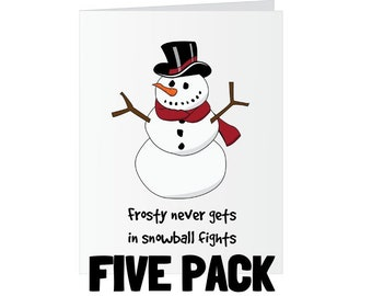 Christmas Greeting Card - Frosty the Snowman Snowballs - Five Pack
