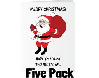 Christmas Greeting Card - Bag of Dicks Santa - Five Pack