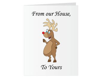 Christmas Greeting Card - Eat a Dick Rude Rudolf