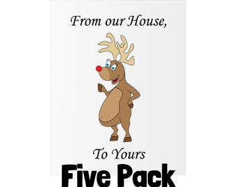 Christmas Greeting Card - Eat a Dick Rude Rudolf - Five Pack