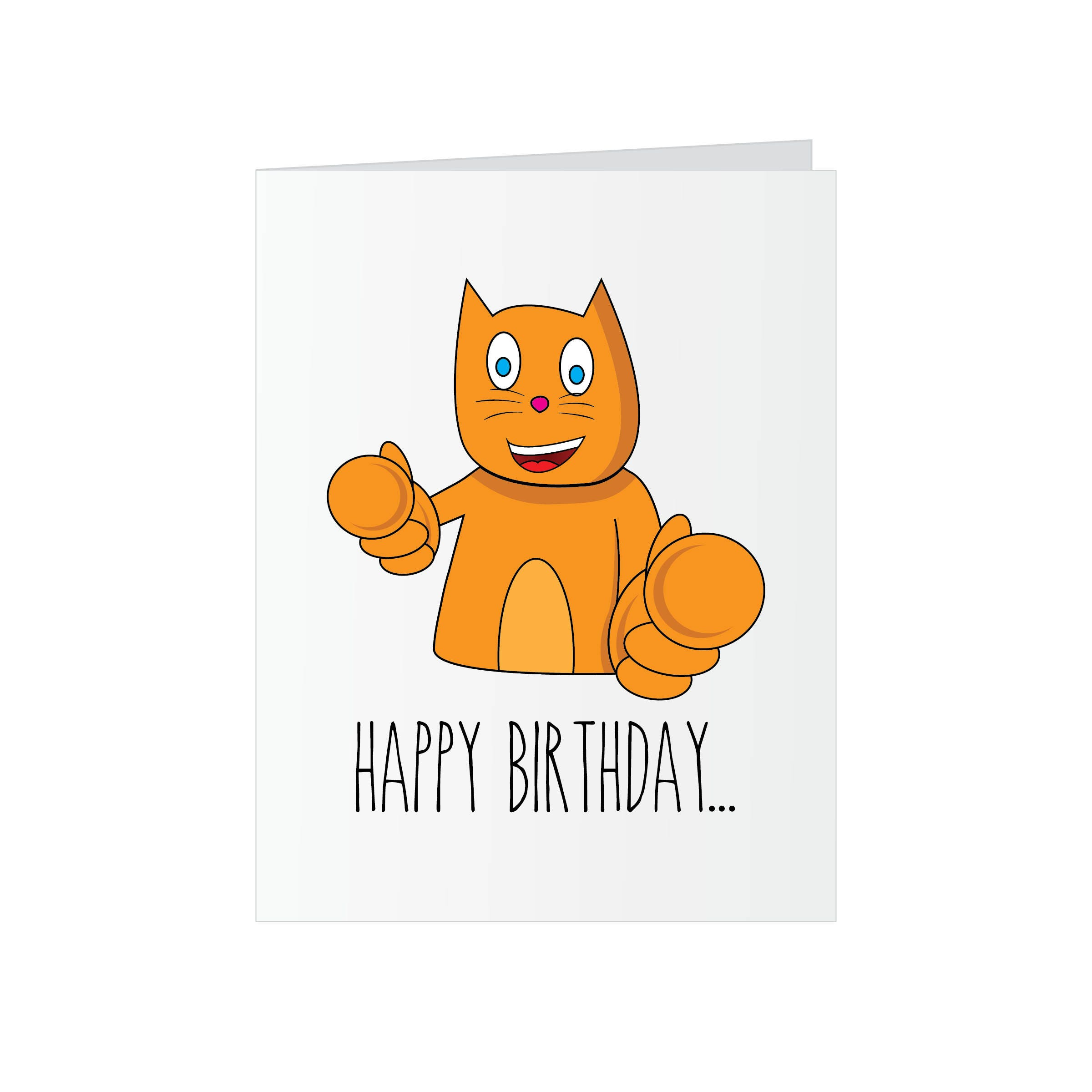 Funny Cat Birthday Greeting Card Adult Happy For