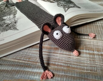 Amigurumi rat, Crochet rat, Squashed rat, Animal bookmark, Rat bookmark, Mouse bookmark, Grey and pink rat Squashed mouse Rat lover bookmark