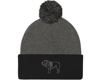 0eee2b5547b Bulldog Classic Outline Beanie - 8 colors! - Funny Cute English Bulldog  Gift - Dog Lover - Dog Hat Beanie Embroidered