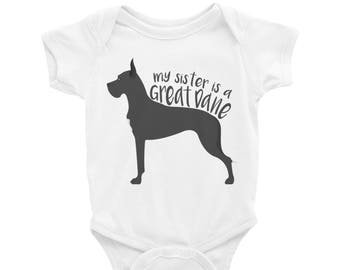 Baby Shower Gift Personalized baby clothes Great Dane Brother Gerber\u00ae Onesie\u00ae Many Font Colors And Fonts.