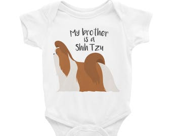 Baby Onesie 'My Brother Is A Shih Tzu' - 4 colors! - Funny Cute Shih Tzu - Baby Clothing Gift Baby Shower - Dog Lover