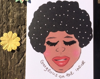 Afro Card - Mindfulness Card - Happy Card - Positivity Card - Polka Dot Card - Lovely Thoughts Card - Encouragement Card - A6 Greeting Card