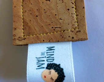 Cork Bookmark - Fabric Bookmark - Leather Bookmark - Tan Bookmark - Vegan Leather Bookmark - Eco BookMark - Book Lovers - Bookish Gift