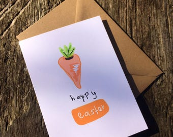 Carrot Card -  Happy Easter Card - Easter Card - Easter Carrot- Easter Bunny - Easter Rabbit - A6 Card - Easter Greetings - Cute Card