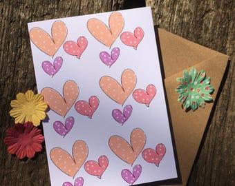 Pastel Hearts - Valentine Hearts Card - Hearts Card - A6 Greeting Card - Polka Dot Card - Cute Card - Pastel Card - Kawaii Card