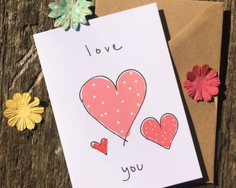 Hearts Card - Relationship Card - I Love You Card - Hearts Card -  A6 Greeting Card - Polka Dot Card - Cute Card - Couple Card