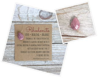 Rhodonite Necklace - Pink Necklace, Faceted Teardrop, Floating Gemstone, Simple Necklace, Dainty Necklace, Barely There
