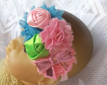 Baby Shower Gift, Pink Green Blue & Pink Sequin Bow Baby Headband, Flower Headband, Baby Girl Headband, Newborn Headband, Infant Headband
