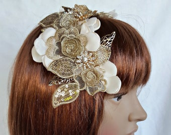 Stunning Baroque Wedding Hair Piece with Gold Leaves Crystals Pearls and Flowers, Bride Vintage Hair Jewelry, Bridal Head Piece