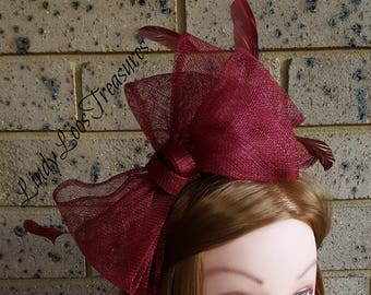 Burgundy Sinamay Fascinator, Sinamay Fascinator, Racing Hat, Wedding Party, Melbourne Cup, Derby Hat, Spring Racing Fascinator