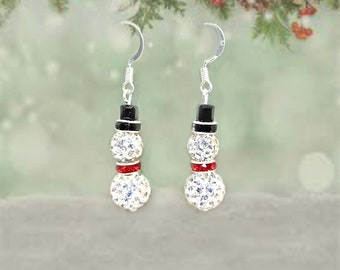 Sparkly Rhinestone Snowman Earrings, Christmas Earrings, Snowman Earrings, Christmas Earrings, Crystal Earrings, Gift for Her