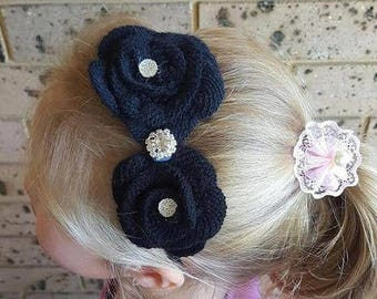 Clearance Black Crochet Flower Headband, Bridesmaid, Flower Girl, Girls Black Headband, Black Headband, Handmade Headband