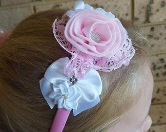 Clearance Cute Sweet Pink Headband, Bridesmaid, Flower Girl Headband, Handmade Headband, Pink Headband, Girls Headband