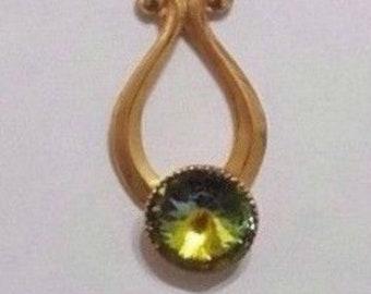 Vintage Estate Vintage Pendant Retro Jewellery Pendant Peridot Stone, Dainty Peridot Pendant Necklace, Vintage Gold Pendant Mother's Day