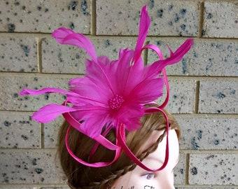 Hot Pink Feather Fascinator, kentucky derby hat, pink fascinator, headband, headpiece, handmade, fascinator, feathers,  headbands, kentucky