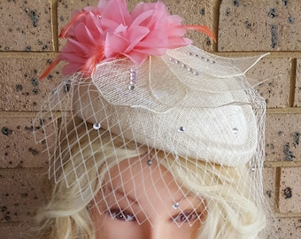 OOAK Ivory Air Hostess Hat With Veil Wedding Crystal Birdcage Derby Melbourne Cup Races Statement