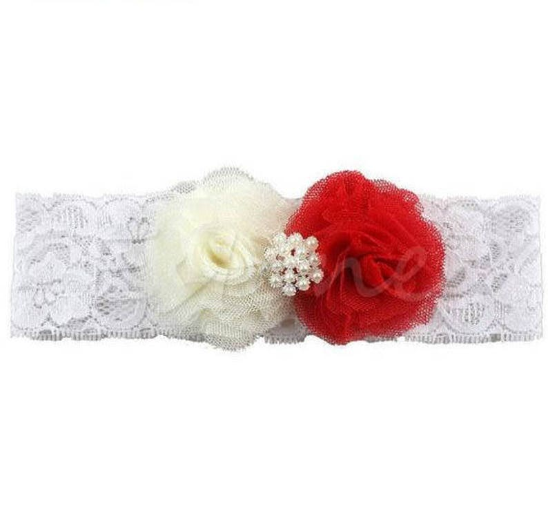 01546ee0881f Beautiful Ivory and Red Flower Headband Lace Hair Band