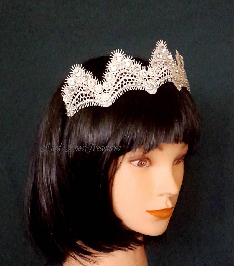 552f87637f830 Ivory Lace Crystal Wedding Bridal Tiara Hair Piece Hair
