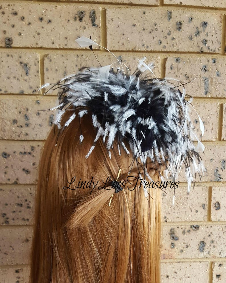 Feather Fascinator Spring Racing Carnival Formals Great Gatsby Evening Melbourne Cup Racing Black and White Feather Fascinator Hat