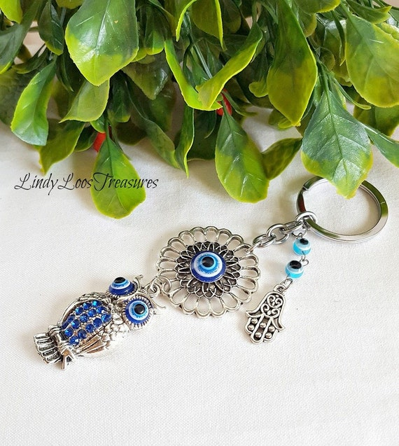 Evil Eye Key Chain Owl Nazar Boncuk Protection Keychain Etsy