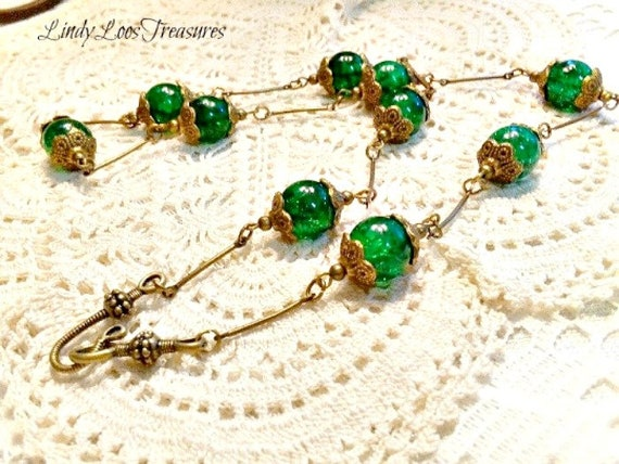 Curved Solid Bronze Wire Necklace Czech Glass Green Crackle Beaded Art Deco Design Necklace Hand Made Beaded Necklace Vintage Style