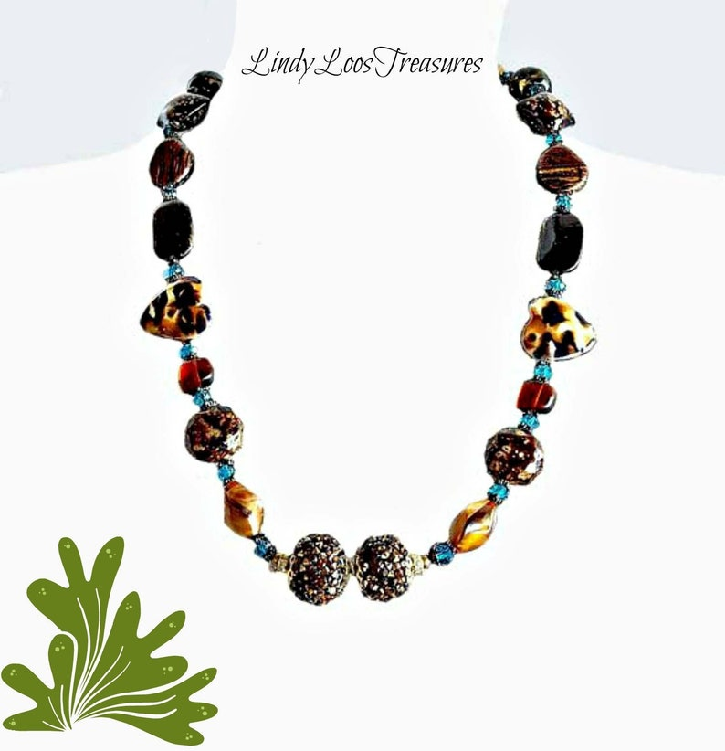 Infusions canyon brown necklace Jesse James beads beaded necklace brown necklace Jewelry Accessories earth tone necklace hand made