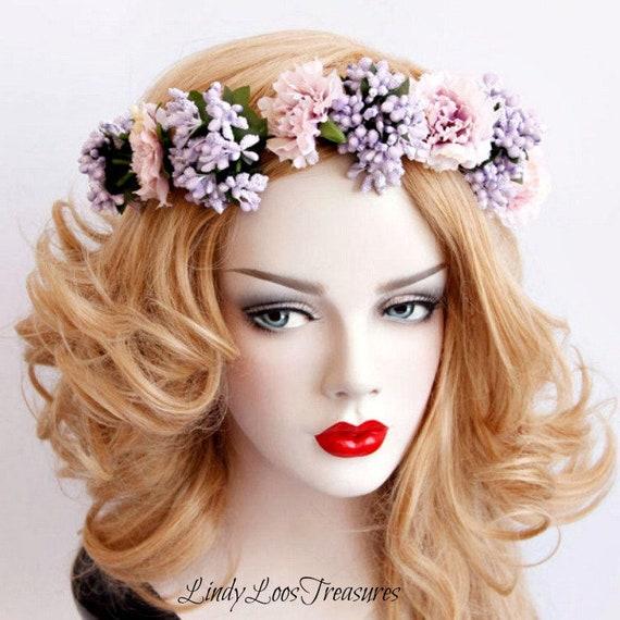 Lavender Hair Garland Crown Flower Garland Headband Flower  bef1b9ad1c7