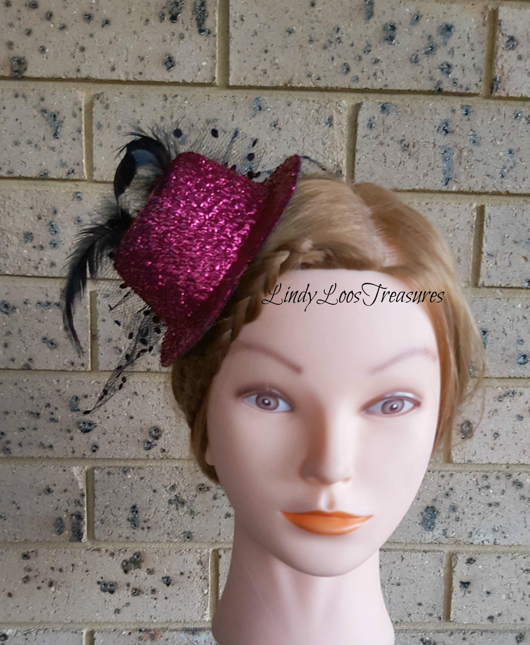 Sparkling Pink Mini Hat Headband Headpiece Bridal  1ee4167ccef