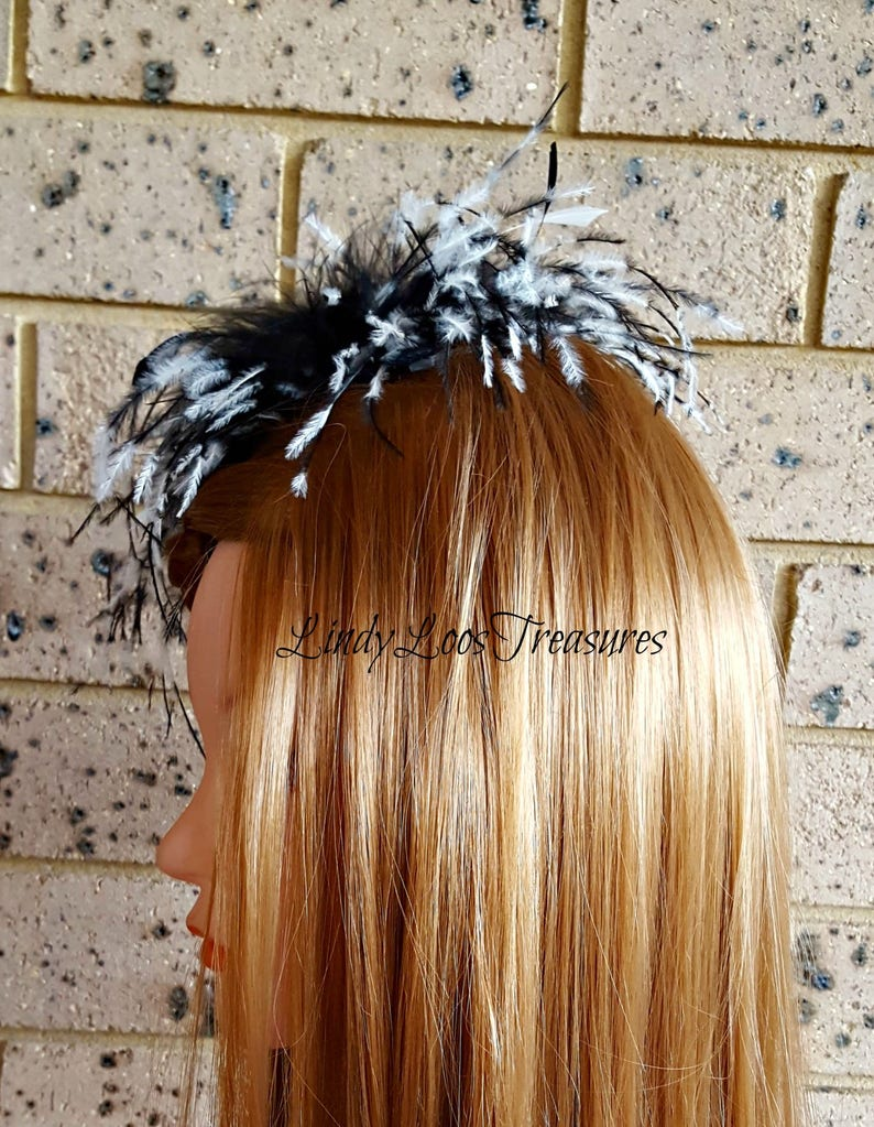 Evening Melbourne Cup Black and White Feather Fascinator Hat Racing Great Gatsby Spring Racing Carnival Formals Feather Fascinator